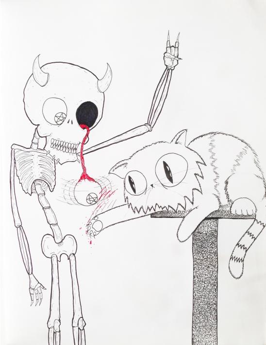 Demon Skeleton Kitty Cat (Pentagram of My Eye)