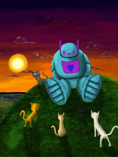 Tranquil Robot with Some Cute Cats
